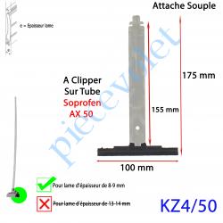 KZ4/50 Attache Tablier Noire Lg 155 mm à Clipper sur Tube Soprofen AX50 pour Lame 8-9 mm d'épaisseur