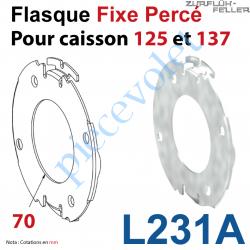 L231A Flasque Fixe Percé ø 70 mm pour Polyréno 125 & 137