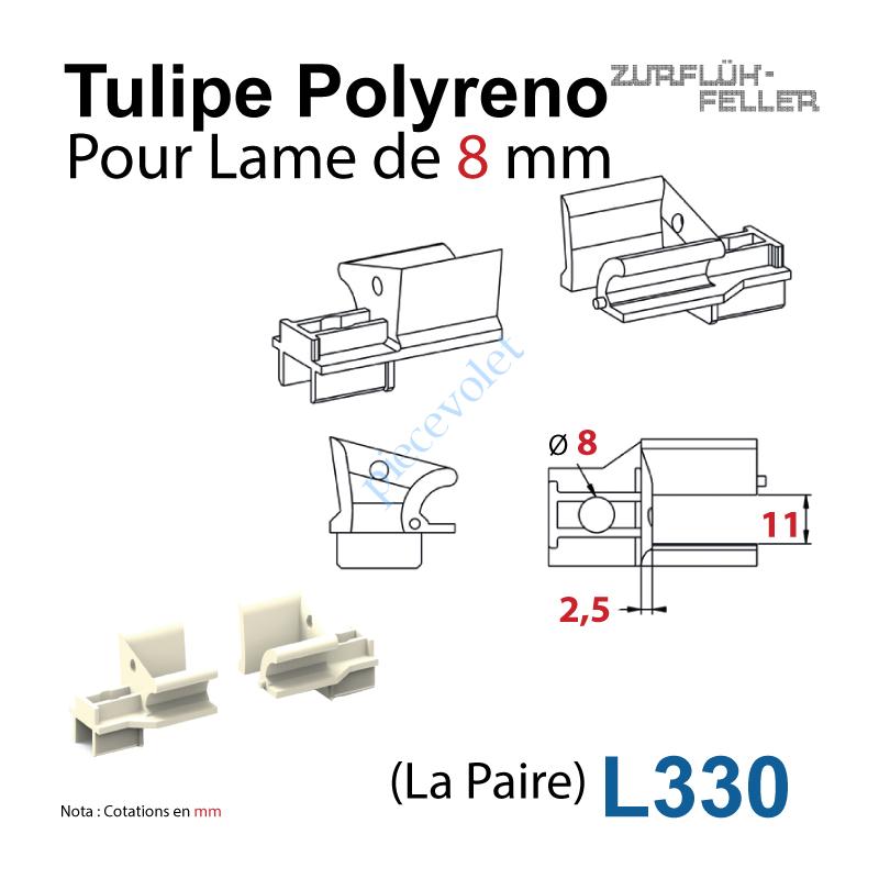L330 Tulipe Polyréno (Paire) pour Lame de 8 mm