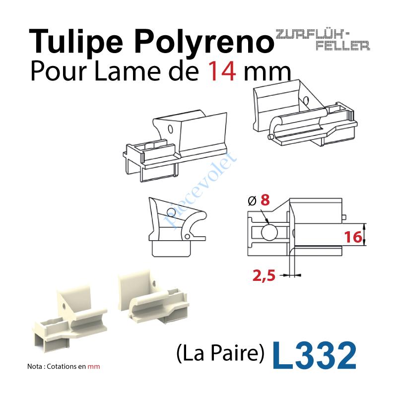 L332 Tulipe Polyréno (Paire) pour Lame de 14 mm