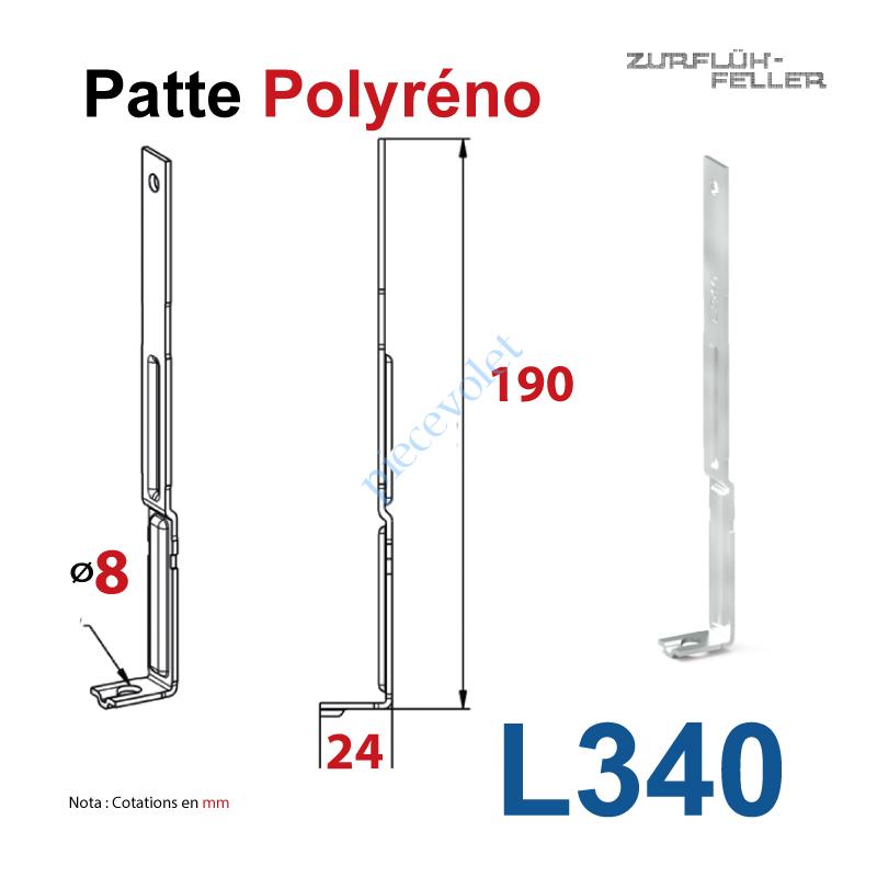 L340 Patte Polyréno Acier Nervuré 20/10 Largeur 16 mm Zingué-Bichromaté