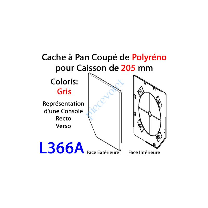 L366A Cache à Pan Coupé Gris pour Joue Polyréno de 205 (Paire)
