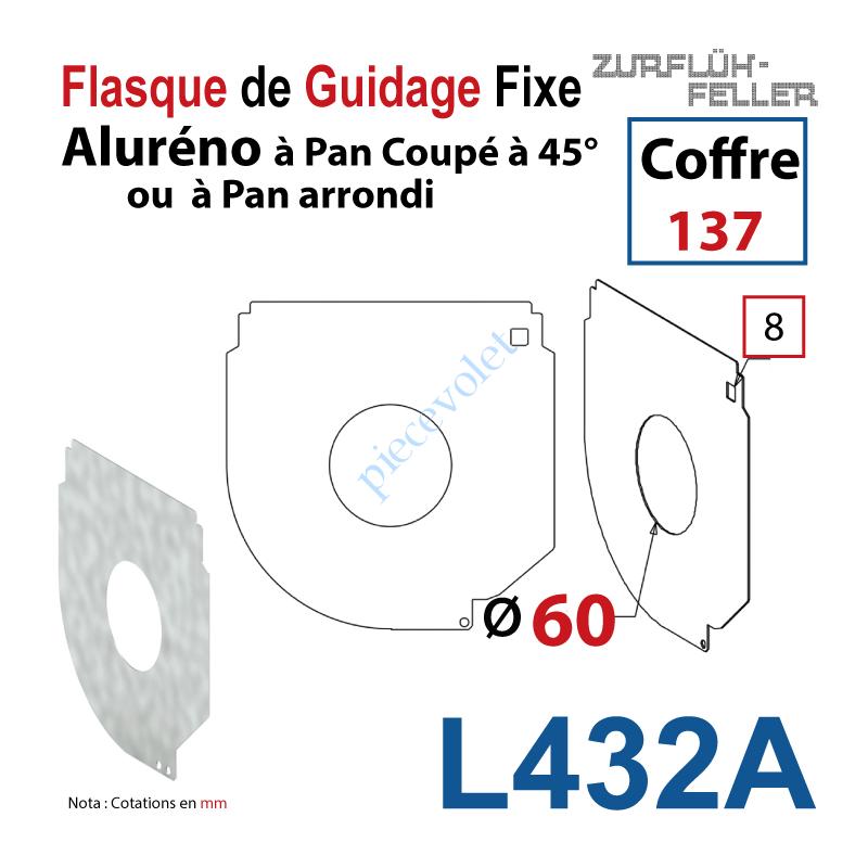 L432A Flasque Fixe Percé ø 60 mm pr Passage Tube pr Aluréno Pan Coupé à 45° de 137
