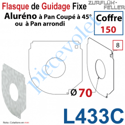 L433C Flasque Fixe Percé ø 70 mm pr Passage Tube pr Aluréno Pan Coupé à 45° & Arrondi de 150