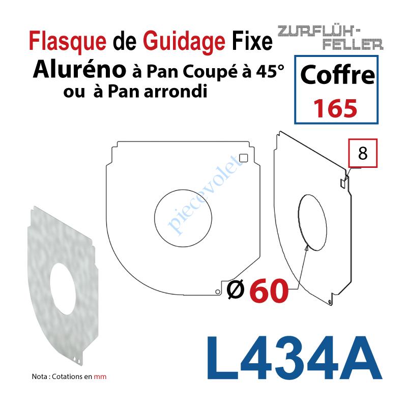 L434A Flasque Fixe Percé ø 60 mm pr Passage Tube pr Aluréno Pan Coupé à 45° de 165