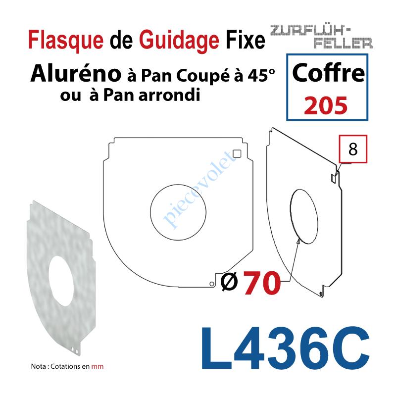 L436C Flasque Fixe Percé ø 70 mm pr Passage Tube pr Aluréno Pan Coupé à 45° & Arrondi de 205