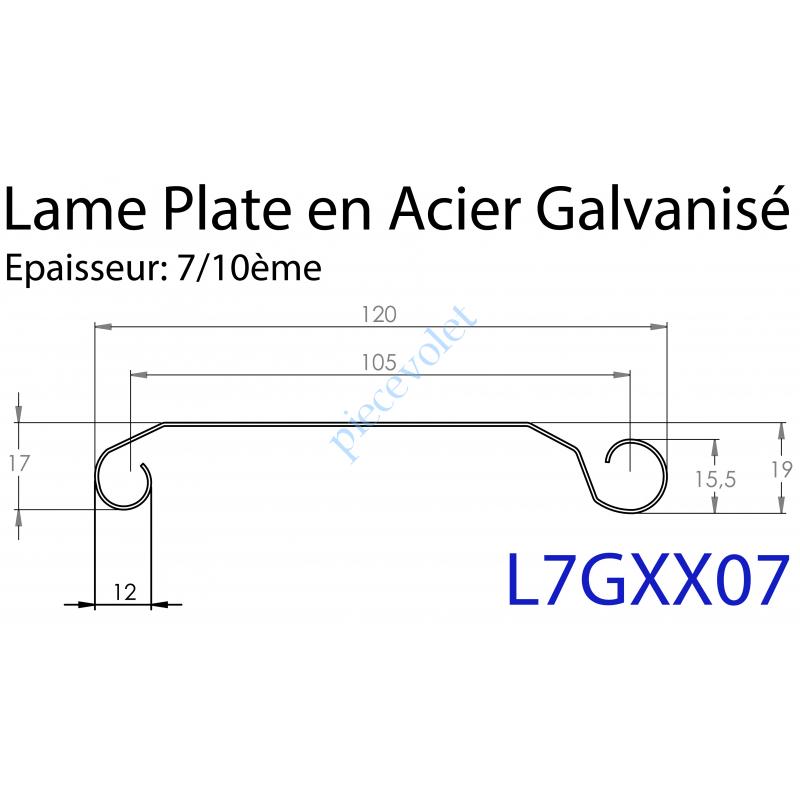 L7GXX07 Lame Plate P107 Galvanisée 7/10, pas de 107 mm