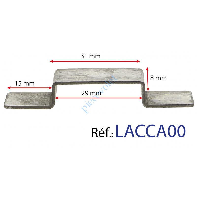 LACCA00 Cavalier Acier Galva Non Percé Laisse Passage 29 x 8 mm pour Tringle Verrouillage