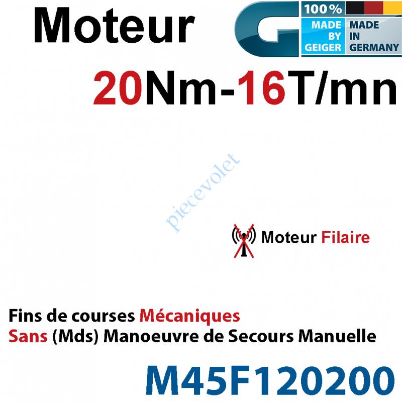 M45F120200 Moteur Geiger Filaire 20/16 Avec FdC Mécaniques Réglage Rapide Sans Mds