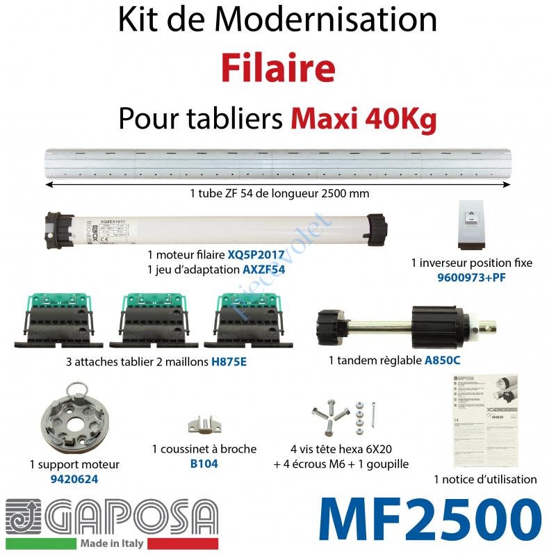 MF2500 Kit de Motorisation Filaire Largeur Maxi 2500mm Poids Maxi 40 kg