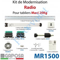 MR1500 Kit de Motorisation Radio Avec Emetteur Mural Largeur Maxi 1500mm Poids Maxi 20 kg