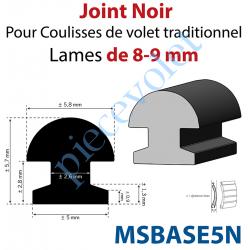 MSBASE5N Joint Noir pour Coulisses de Traditionnel Lames de 8 mm - 9 mm