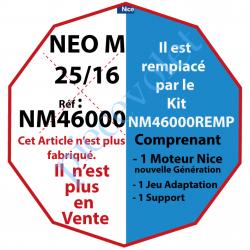 NM46000 Moteur Nice Filaire Néo M 25/16 M 50 sans Mds rempacé par NM46000REMP