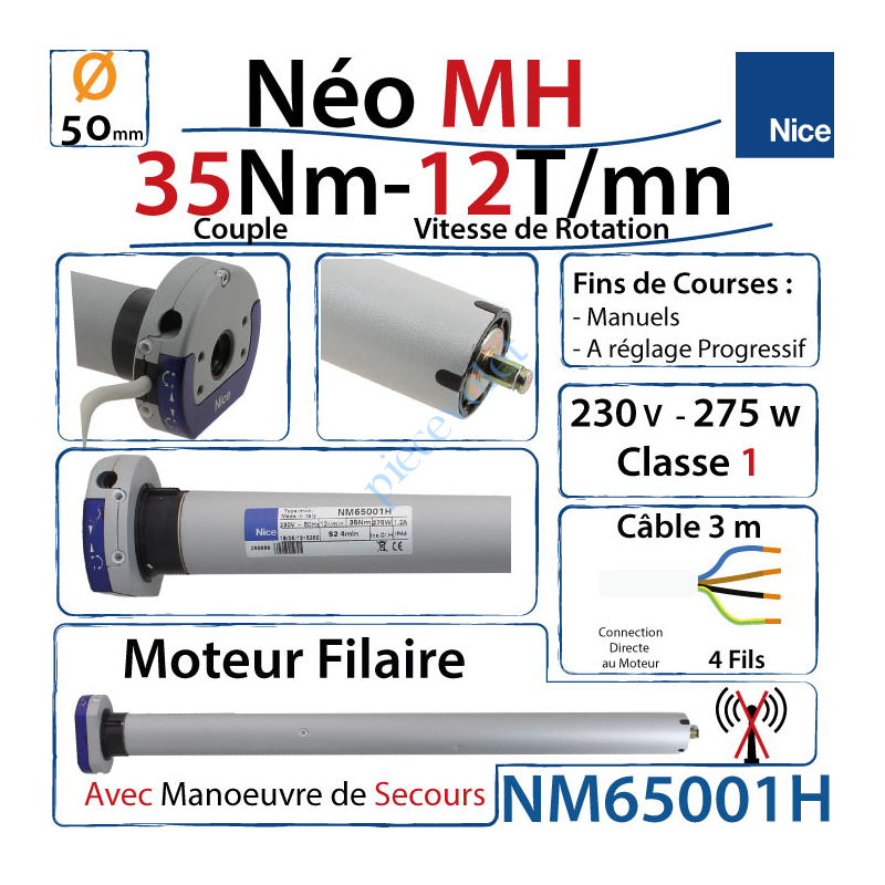 NM65001H Moteur Nice Filaire Néo MH 35/12 MH Avec Mds