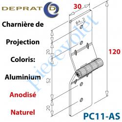 PC11-AS Charnière de projection Large alu anodisé naturel