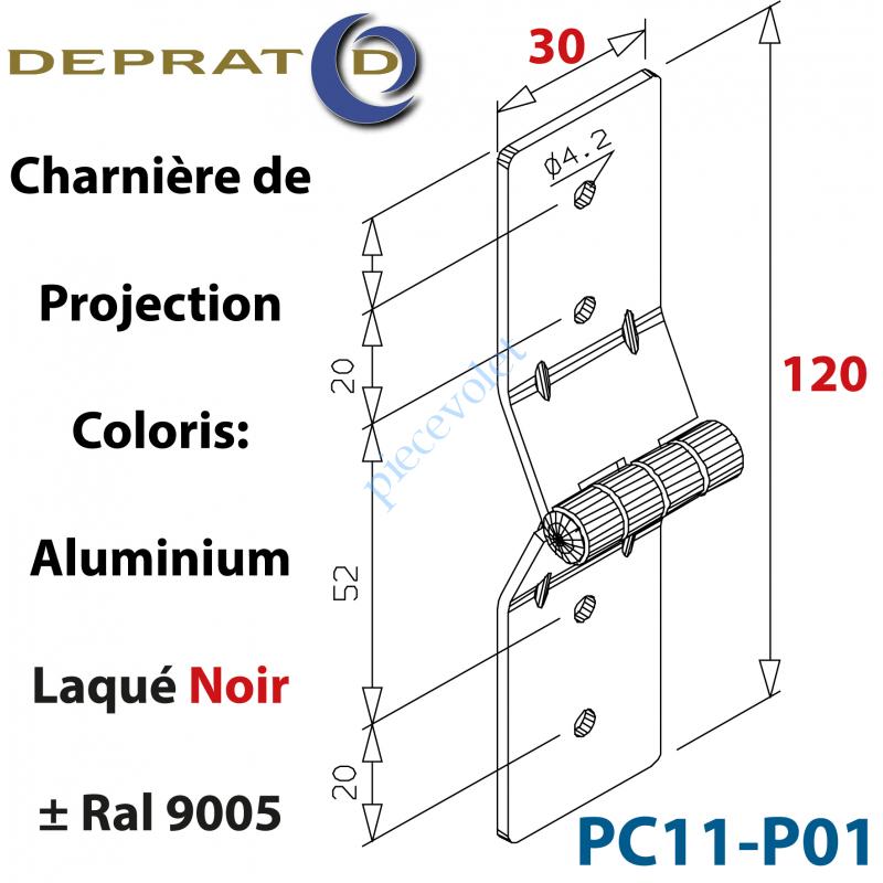 PC11-P01 Charnière de projection Large alu noir