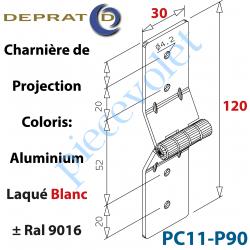 PC11-P90 Charnière de projection Large alu blanc