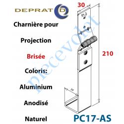 PC17-AS Charnière Large pour Coulisse à Projection Brisée en Aluminium Anodisé Naturel