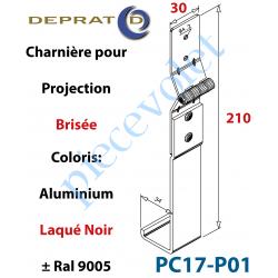 PC17-P01 Charnière Large pour Coulisse à Projection Brisée en Aluminium Laqué Coloris Noir Ral 9005