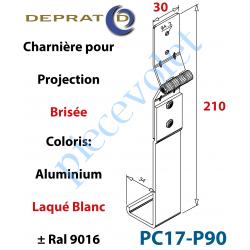 PC17-P90 Charnière Large pour Coulisse à Projection Brisée en Aluminium Laqué Coloris Blanc Ral 9016