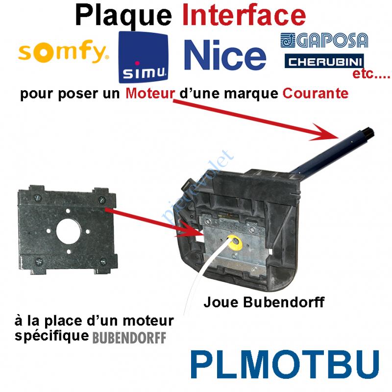 PLMOTBU Plaque Interface Moteur Standard pour Joue Moteur id Bubendorff