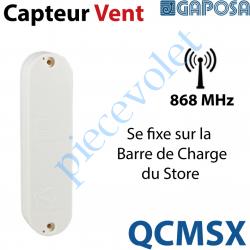 QCMSX Capteur Vent Radio 868 MHz à Fixer sur la Barre de Charge du Store Blanc-Gris Autonome avec 2 piles 1,5 v AAA