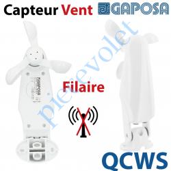 QCWS Capteur Vent Filaire à relier par 2 fils au Boitier Gaposa qui le gère