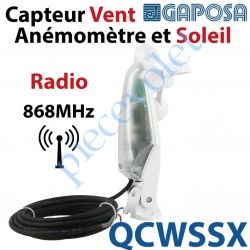 QCWSSX Capteur Vent Anémomètre & Soleil Gaposa Radio 868 MHz à alimenter en 230 v