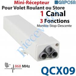 QCX09 Récepteur Mini pour Volet Roulant ou Store 230 vca 1 canal 868,30 MHz 3 Fonctions Sortie 500w ip55