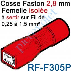 RF-F305P Cosse Femelle Languette 2,8x0,5 Pré-isolé pr fils Section 0,25 à 1,5 mm² Col Rouge