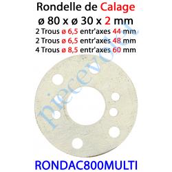 RONDAC800MULTI Rondelle de Calage de Support Moteur en Acier ø 80 x 16,5 x 2 mm Entr'axes 44 - 48 & 60 mm