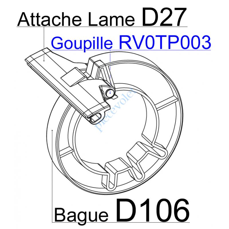 RV0TP003 Goupille en Acier Zingué Tête Plate 5x75 Verouille l'Attache D27 sur Bague D106