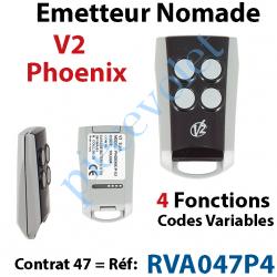 RVA047P4 Emetteur Mini Nomade V2 Phœnix 4 fonctions 433,92 MHz (Code Variable) Contrat 47
