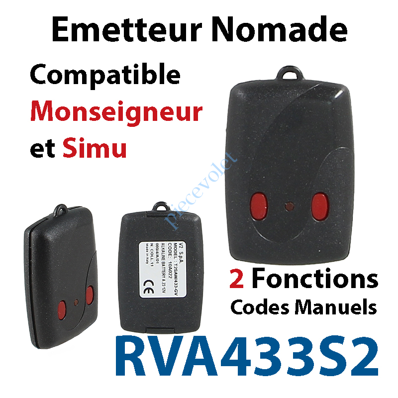 RVA433S2 Emetteur Mini Nomade TRR 2 fonctions (code manuel) Compatible Monseigneur & Simu