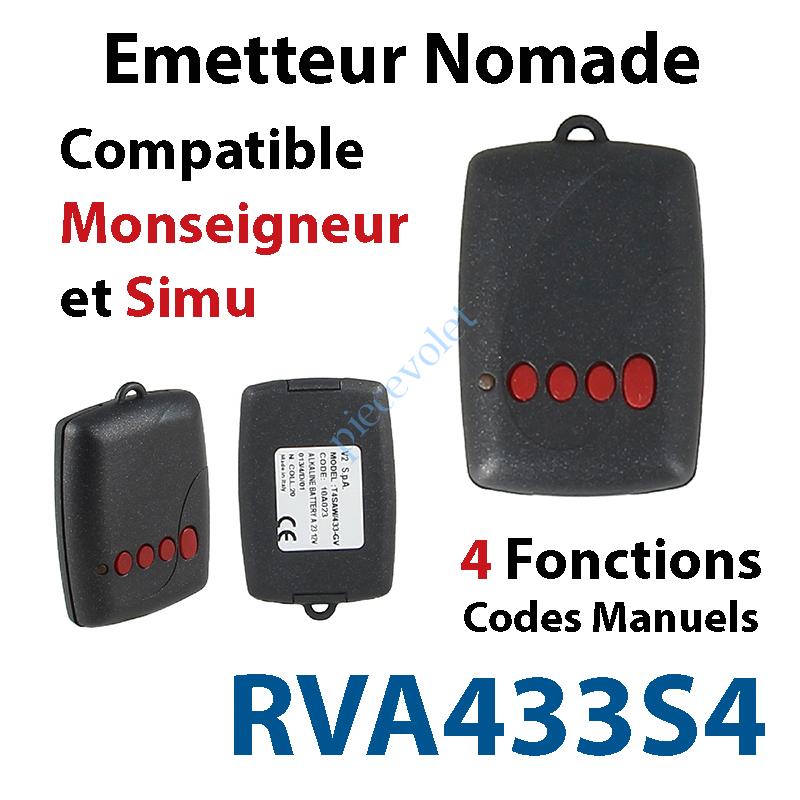 RVA433S4 Emetteur Mini Nomade TRR 4 fonctions (code manuel) Compatible Monseigneur & Simu
