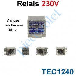 TEC1240 Relais 230v ac à clipper sur Embase Simu avec 4 Contacts Ouvert-Fermé 6 A
