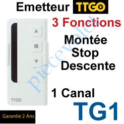 TG1 Emetteur TT Go TG1 Nomade 3 Fonctions 1 Canal 433,92MHz Rolling Code + Support Berceau