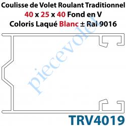 TRV4019 Coulisse de Tradi 40 x 25 x 40 Fond en V Sans Joint en Aluminium Laqué Coloris Blanc ± Ral 9016