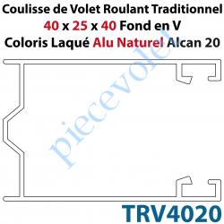 TRV4020 Coulisse de Tradi 40 x 25 x 40 Fond en V Sans Joint en Aluminium Laqué Coloris Alu Naturel Alcan 20