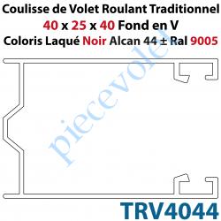 TRV4044 Coulisse de Tradi 40 x 25 x 40 Fond en V Sans Joint en Aluminium Laqué Coloris Noir Alcan 44 ± Ral 9005