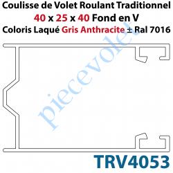 TRV4053 Coulisse de Tradi 40 x 25 x 40 Fond en V Sans Joint en Aluminium Laqué Coloris Gris Anthracite ± Ral 7016