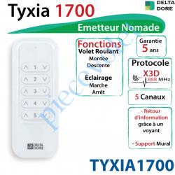 TYXIA1700 Emetteur Nomade Delta Dore Tyxia 1700 X3D Blanc Avec Cadre Blanc (5 canaux)