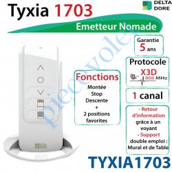 TYXIA1703 Emetteur Nomade Delta Dore Tyxia 1703 X3D Blanc Avec Cadre Blanc (1 canal)