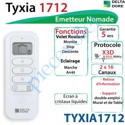 TYXIA1712 Emetteur Nomade Delta Dore Tyxia 1712 X3D Blanc Avec Cadre Blanc (2 x 16 canaux)