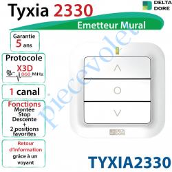 TYXIA2330 Emetteur Mural Delta Dore Tyxia 2330 X3D Blanc Avec Cadre Blanc (1 canal)