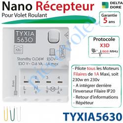 TYXIA5630 Nano Récepteur Delta Dore Radio X3D pour Moteur de Volet Roulant Maxi: 1A à intégrer derrière l'inverseur Filaire ip20