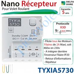 TYXIA5730 Nano Récepteur Delta Dore Radio X3D pour Moteur de Volet Roulant Maxi: 2A à intégrer derrière l'inverseur Filaire ip20