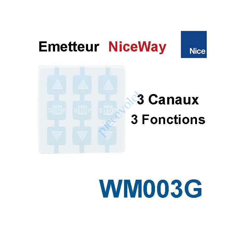 WM003G Emetteur Nomade NiceWay 3 Can 3 Fonc 433,92MHz Rolling Code à Cliper dns Support