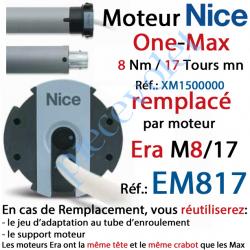 XM1500000 Moteur Nice Filaire One Max 8/17 Av FdC Manuels M 50 sans Mds.Remplacé par EM817