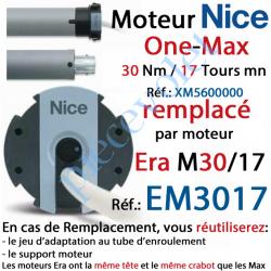 XM5600000 Moteur Nice Filaire One Max 30/17 Av FdC Manuels M 50 sans Mds;Remplacé par EM3017
